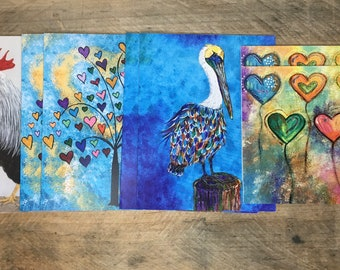Religious Note Cards Variety Set of 8 with Envelopes, Blank Inside, Bible Verse, Hearts, Rooster, Pelican Notecards Christian Greeting Cards