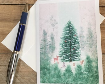 Christmas Cards Winter Tree Note Cards Set with Envelopes, Blank Inside, Personalize with Return Address, Forest Animals, Snow Notecard