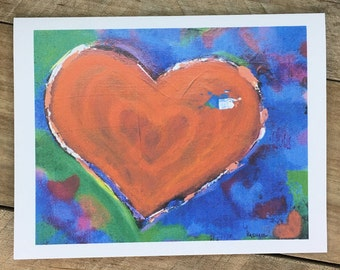 Heart Note Cards Set with Envelopes, Blank Inside, Artist Note Cards, Heart Print from Original Painting, Notecards, Stationery, Stationary