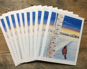 Christmas Cards Set, Winter Cardinal Note Card Set with Envelopes Personalize Notecard Personalizable Red Bird Note Card