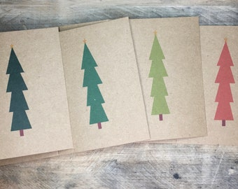 Christmas Cards Set with Envelopes, Personalize, With Messasge or Blank Inside, Minimalist Simple Christmas Tree Cards, Handmade Kraft Brown