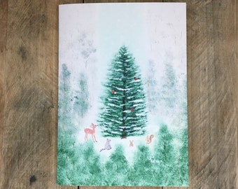 """Personalized Christmas Cards, 5 x 7"""" Painted Christmas Tree Card, Custom Cards Choose Message, Names, Handmade, Religious Christmas Cards"""