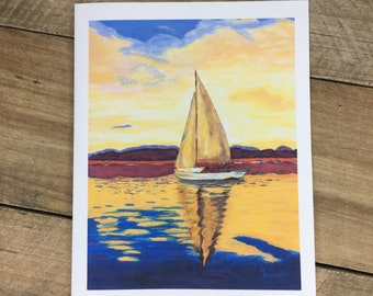 Sailboat Note Card Set of 10 Blank inside ~ Envelopes: Plain, Matching, or Personalize ~ Nautical stationery, stationary, notecards, sailing