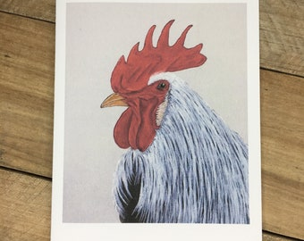 Rooster Note Card Set of 10, Blank Inside, with Envelopes - choose Matching, Personalized, Plain envelopes