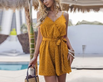 Spring Summer Lace up Playsuits Women  Loose Casual Ruffles Solid Playsuits  AnwarDZ