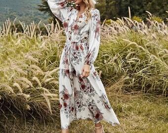 Autumn Winter Cross V-neck  Print Dress Women  New Casual Full Sleeve  High Waist Floral Dress  AnwarDZ