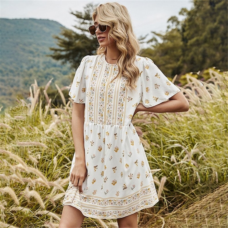 Floral Print Mini Dress Women  Summer Clothes Short Sleeve O Neck With Button  Ladies Casual Loose Bohemian Holiday Dresses  AnwarDZ