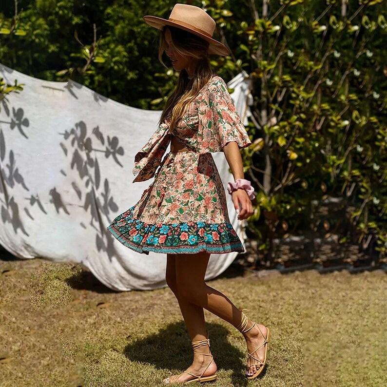 New Summer Short Dress Women  Flare Sleeve Bohemian  Print Above Knee  Mini Lace Up Print Dress  AnwarDZ