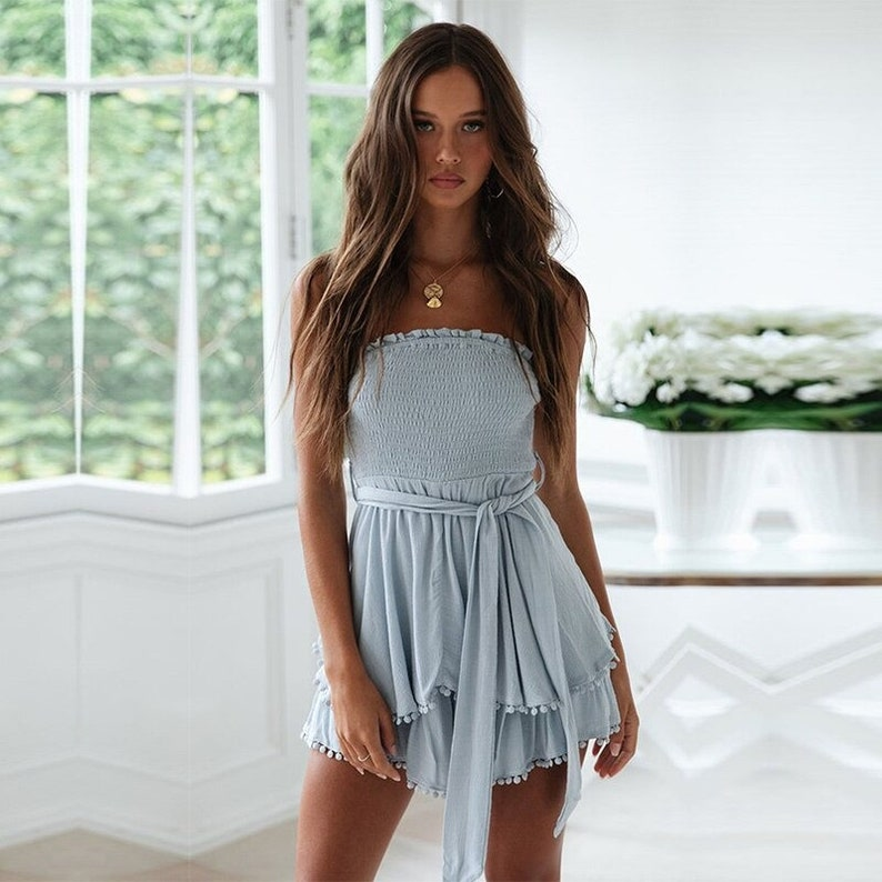 New Summer Fashion Ruffles Strapless Playsuits Women  Lace up Cotton Linen Loose Casual Solid Layered Playsuits  AnwarDZ