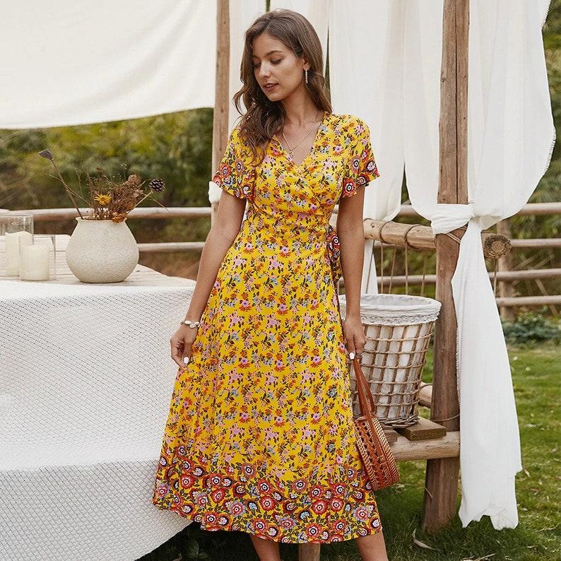 New Women/'s Summer Bohemian Print Long Dress  Ladies Elegant Short Sleeve V-neck High Waist Vacation Dress  AnwarDZ