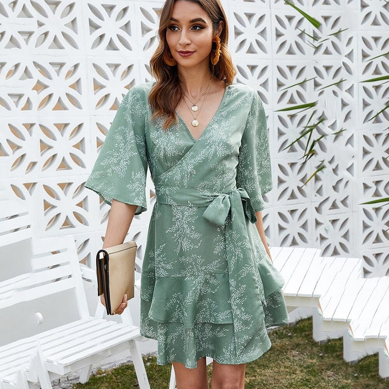 Print Hollow Out Mini Dress Women  Summer Lace Up Half Sleeve V Neck Ladies  Casual Loose Vintage Ruffles Elegant Dresses  AnwarDZ