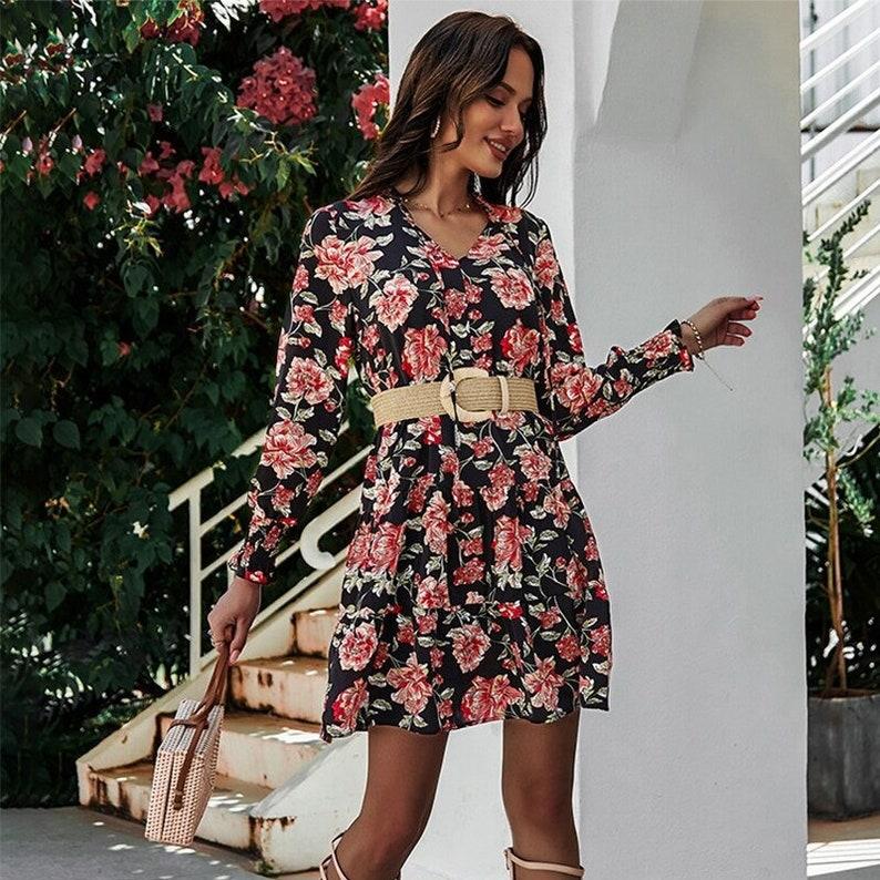 Spring Summer Short Floral Dress Women  Casual High Waist  Full Sleeve Slim Mini Dress For Women  New Fashion dress  AnwarDZ