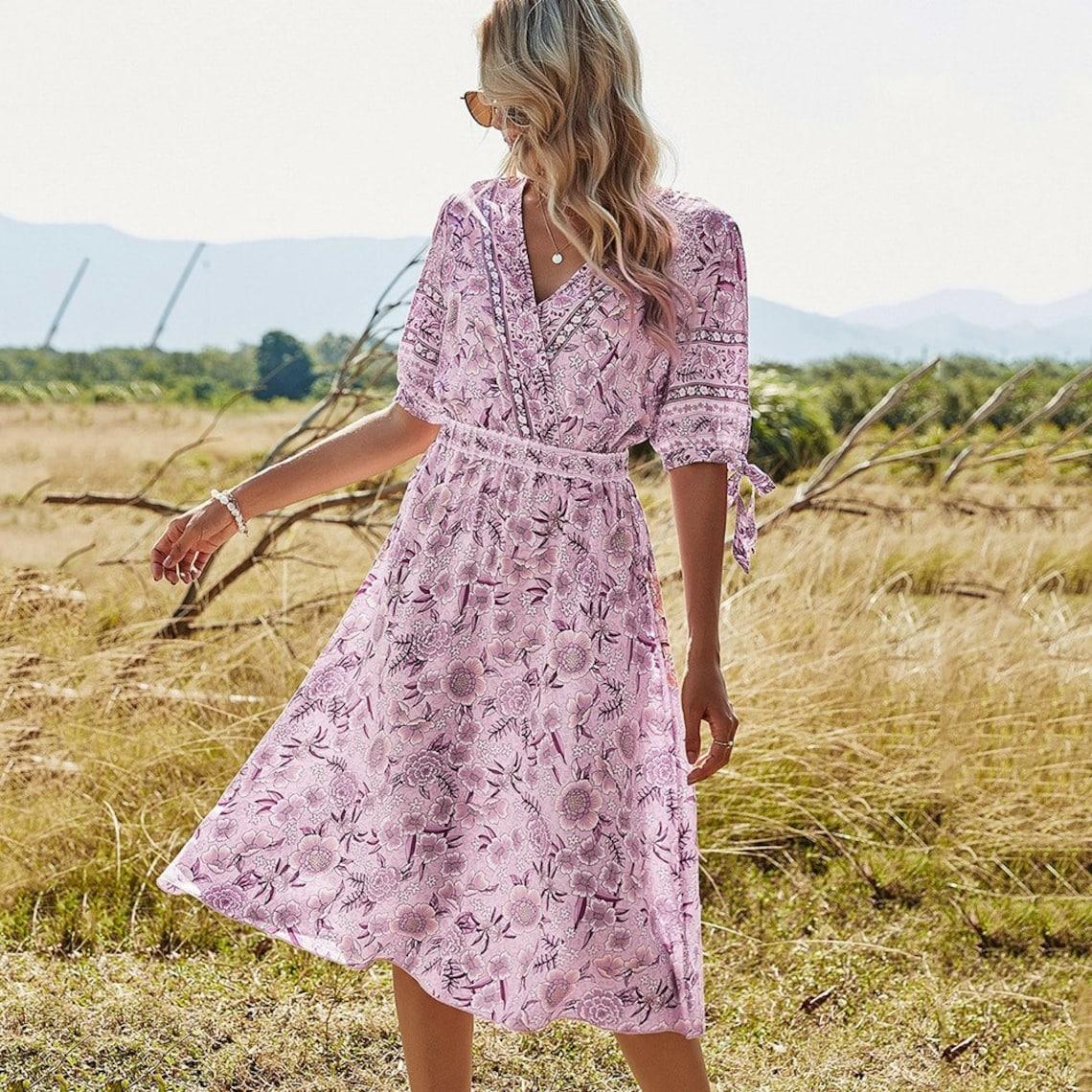 floral print midi kleid für frauen / sommer eine linie | etsy