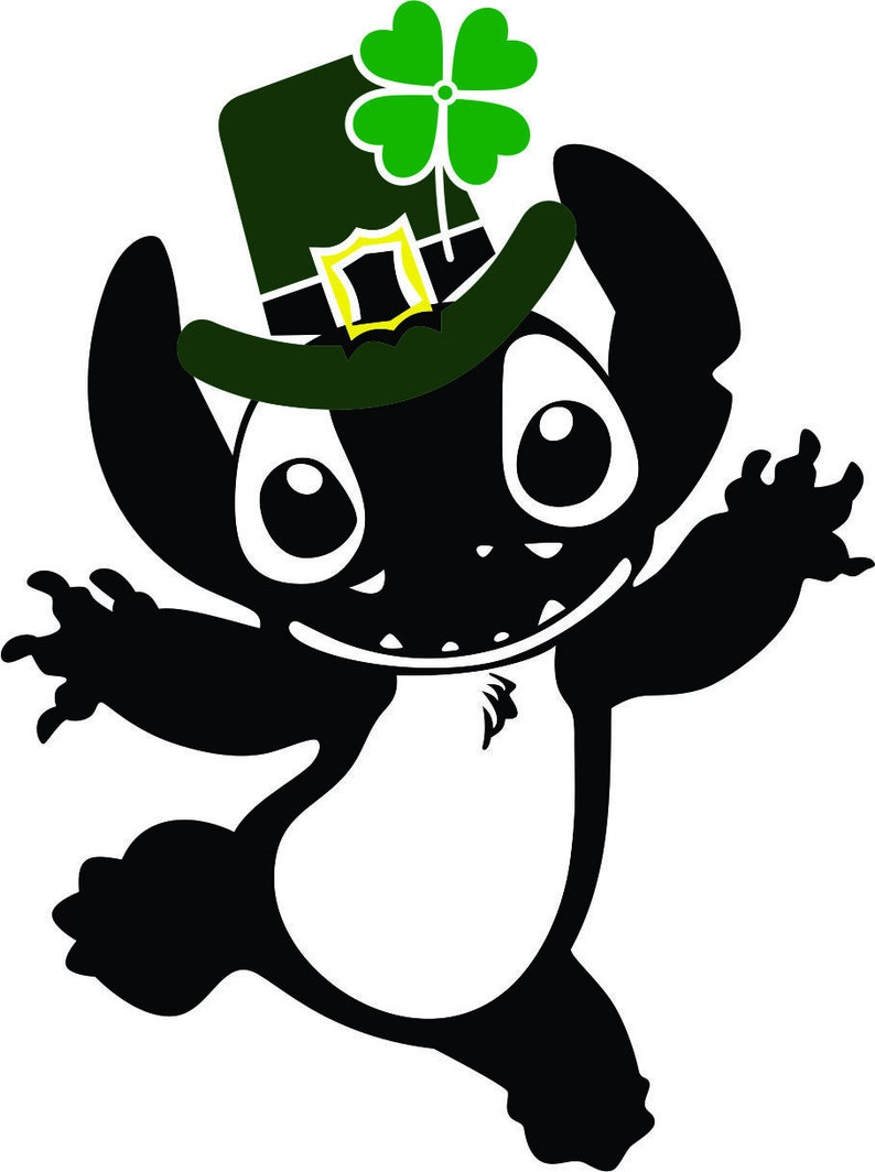 St Patrick/'s Day Stitch SVG JPG and more for Circut and Silhouette Lilo and Stitch Design
