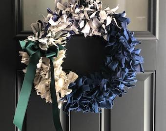 Door Hanger Celadon Green, 20 Inch Wreath 16 Inch Wire Frame Rag Wreath Rustic Wreath Shabby Decor Blue Green Wreath Wall Decor
