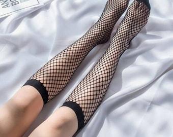 Thigh High Fishnet Stockings, Knee High Fishnet Socks, Striped Long Socks