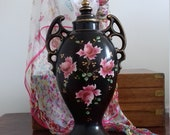 Striking Black and Floral Vintage Lidded Vase Circa 1910