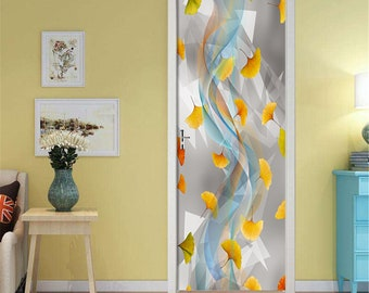 Self-Adhesive 3D Door Wall Mural 3D Maple Leaves D63 Door Wall Mural Photo Wall Sticker Decal Wall AJ Wallpaper US Lemon