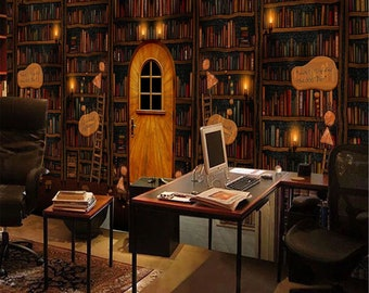 Library Wallpaper Etsy