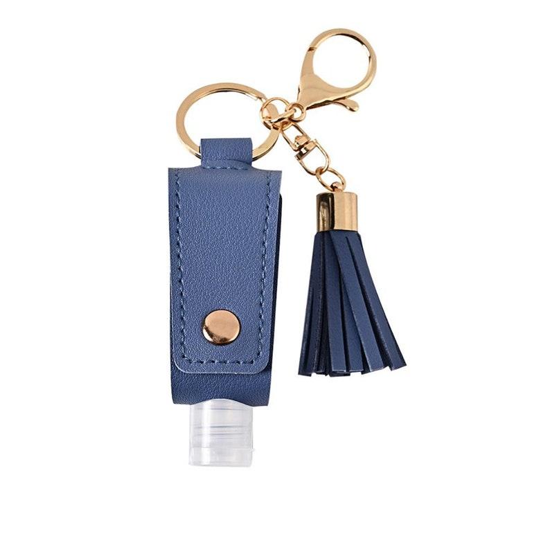 Travel Bottle Keychain Holder Hand Sanitizer Leather Refillable Container Flip Reusable Bottle Key Chain Tassel Zipper Bag Clips