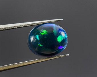 Natural Black Ethiopian Opal Smooth Cabochon Loose Gemstone Ring Size Fire Opal Oval shape Gemstone 11x9x4 MM 2.30 Carat