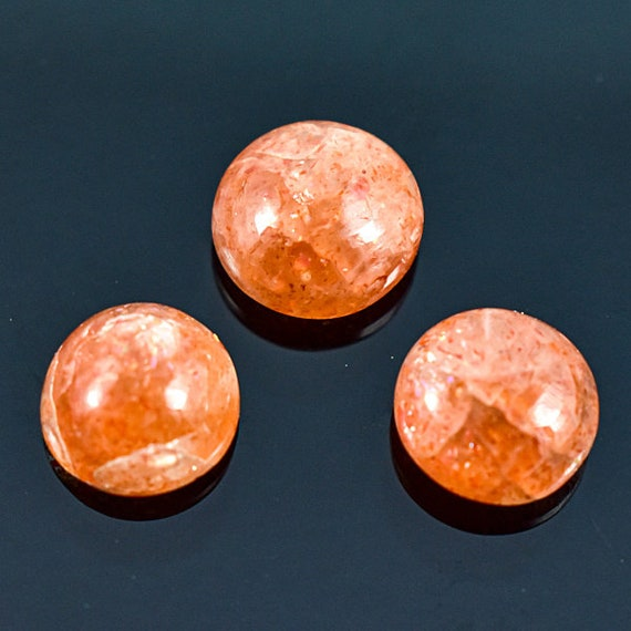 Loose Gemstone Natural Sunstone Round Shape Faceted Cut AAA Quality 3 Pcs 8-9 MM Size C4707 Sunstone Faceted Cut