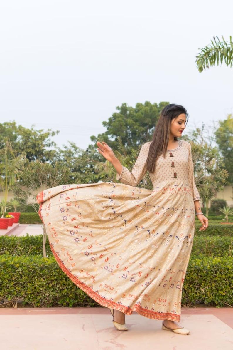 Indian Anarkali Gown Full Kurta Cotton Hand Printed One Piece Kurta Traditional Wear Designer Kurta