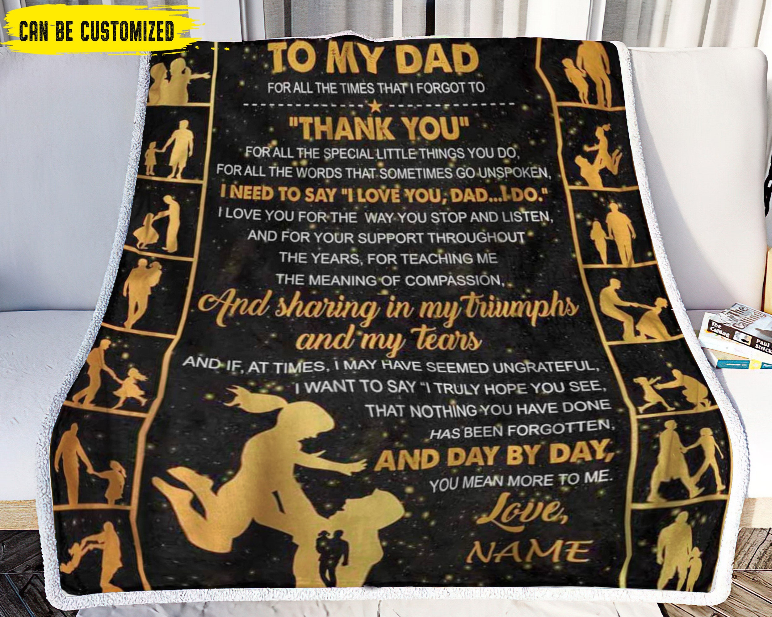 Personalized Name Blanket Love Letter to My Dad from   Etsy