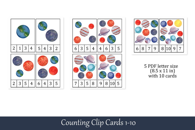 Number 1-10 Flashcards Planets Montessori Count and Clip Cards Preschool Printables