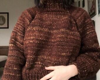 hand knit wool raglan sweater