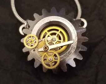 """Steampunk """"Industrial Cog"""" Pendant (with silver chain)"""