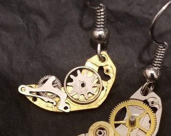 Steampunk Half-Moon Earrings (Small Pair)