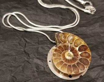 Steampunk Ammonite Pendant with silver chain