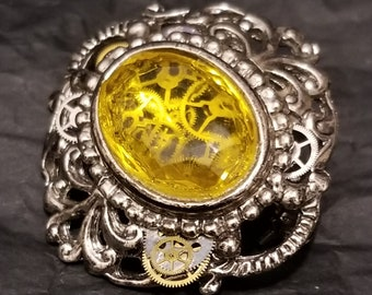 Cogs Trapped in Amber (the Jurassic Park Tribute Broach)