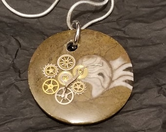 Steampunk Fossil Pendant with silver chain