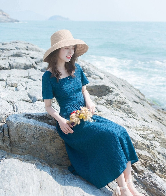 Navy blue linen dress with lace in cottagecore vintage style