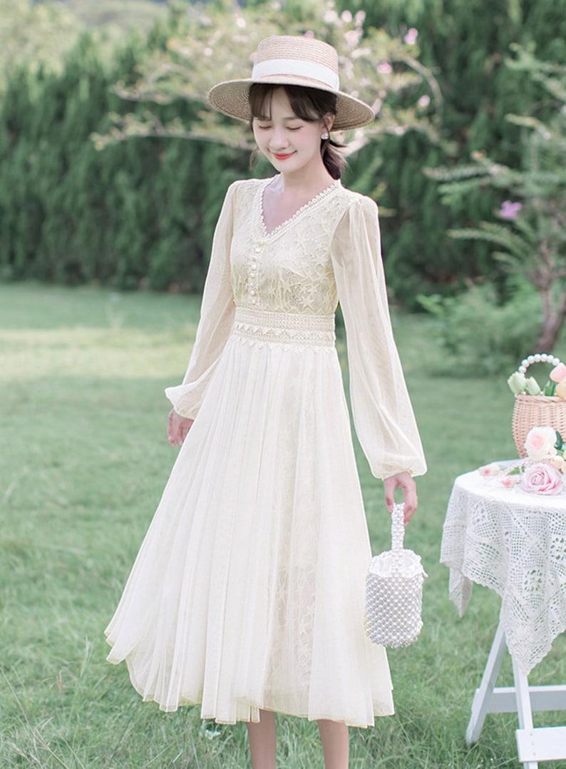1930s Wedding History Vanilla Cream Star Lace Chiffon Vintage Bridgerton Cottagecore Style Midi Dress with Lace Trim | KELLY $60.25 AT vintagedancer.com