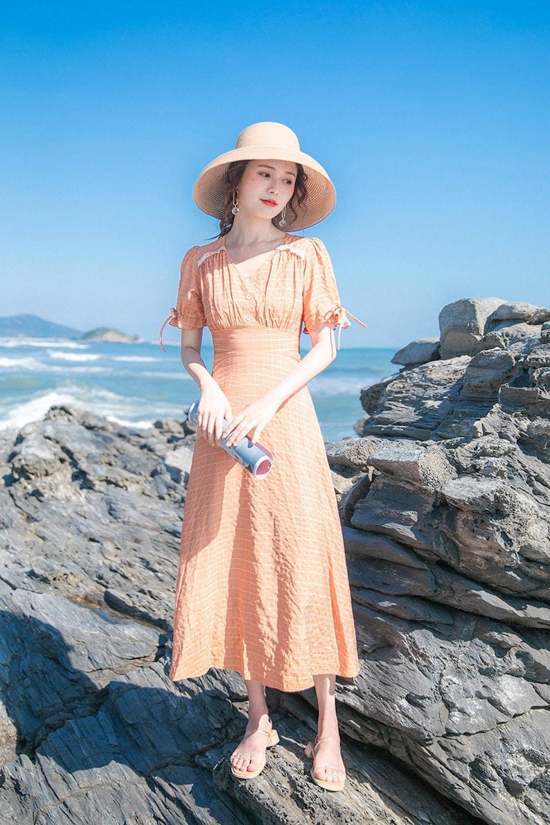 1930s Dresses   30s Art Deco Dress Soft Tangerine 1930s Vintage Cottagecore Style Midi Dress in Checkered Pattern   RACHEL $56.94 AT vintagedancer.com