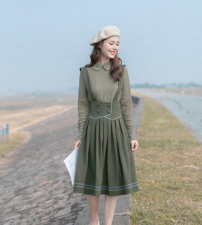 1930s Style Skirts : Midi Skirts, Tea Length, Pleated Olive Green English Vintage Cottagecore Style Midi Two-Piece Dress | ARIANA $69.35 AT vintagedancer.com