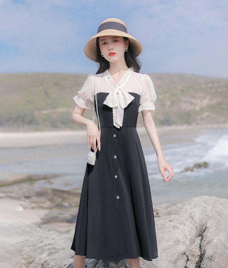 Vintage Style Dresses | Vintage Inspired Dresses Black & White Textured Lace Vintage Cottagecore Style Midi Dress with Decorative Buttons | EUGENE $56.94 AT vintagedancer.com