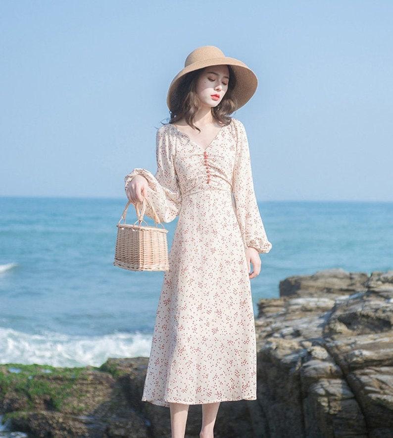 Vintage Style Dresses | Vintage Inspired Dresses Soft Beige Polka Dot Vintage Cottagecore Style Midi Dress with Faux Button Detail | RORY $59.42 AT vintagedancer.com