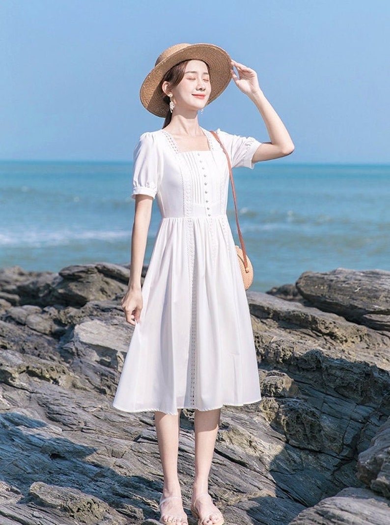 Snow White Lace Trim Vintage Cottagecore Style Midi Dress with Faux Buttons FELICIA