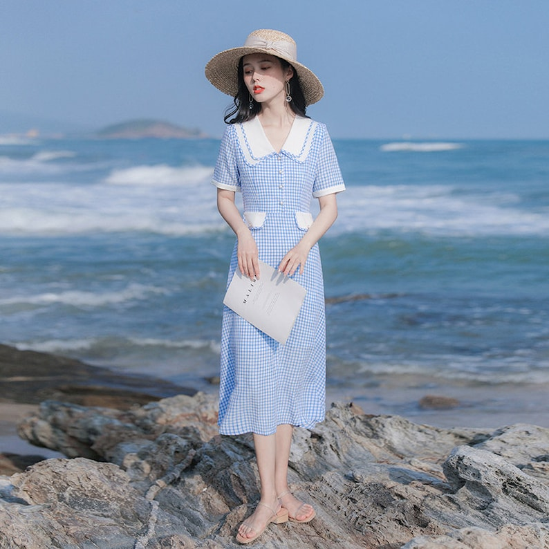 1930s Outfit Inspiration – Women's Clothing Ideas Sky Blue Gingham Pattern 1930s Vintage Cottagecore Style Midi Dress with Double Collar | INGRID $56.94 AT vintagedancer.com