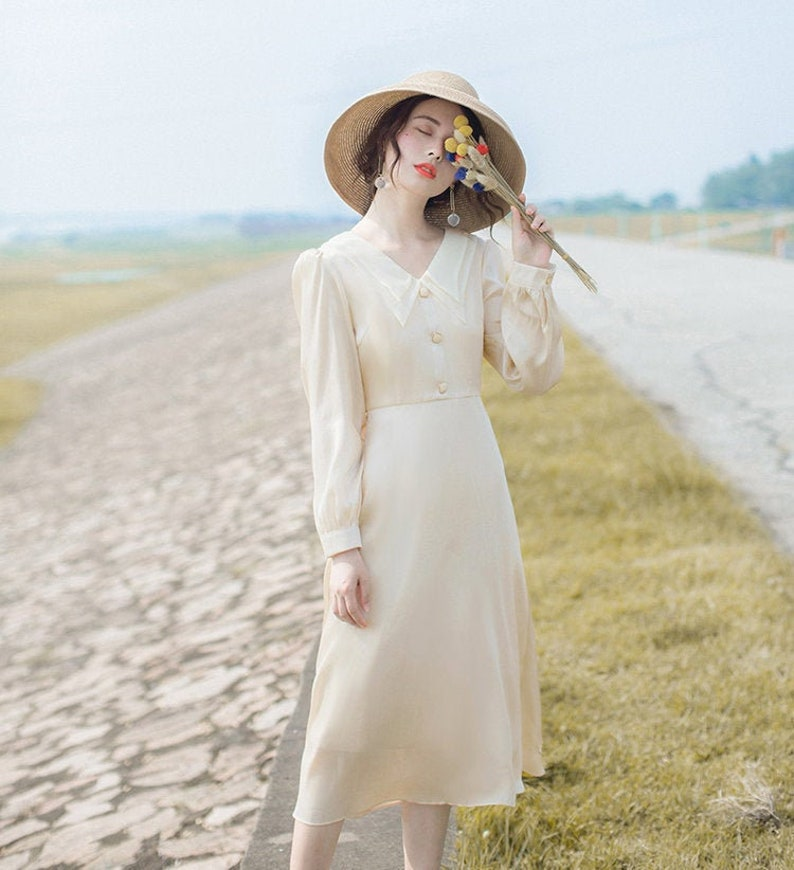 1930s Wedding History Shimmering Cream Vintage Cottagecore Style Midi Dress with Double Collar | NIKO $59.42 AT vintagedancer.com