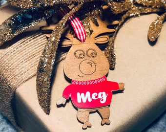 Personalised wooden reindeer gift tags, Christmas tree ornament, customised, place setting, decoration, timber, laser cut