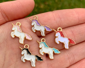 5 Unicorn Charms-Gold Alloy and Enamel-Pink-Blue-Purple-Red-Black-Unicorn Charms for Bracelets and Necklace-Small Unicorn Charms