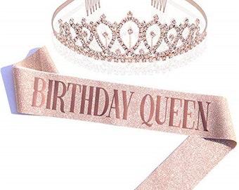 Birthday Queen Rose Gold Glitter Sash with Rhinestone Tiara Crown