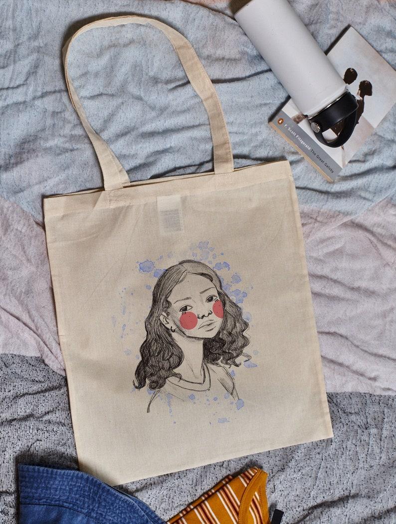 Textile bag Shopping Bag Girl Power design Girl face Tote Bag 100/% Cotton Canvas Unisex