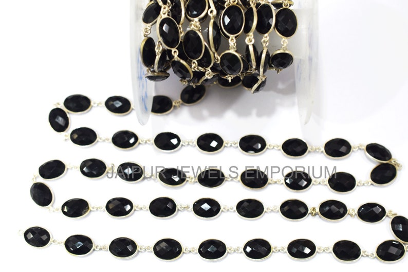 13x10-14x11 mm Sold By Foot Black Onyx Faceted Bezel Link Chain Black Onyx Oval Shape Connector Chain 5jje343