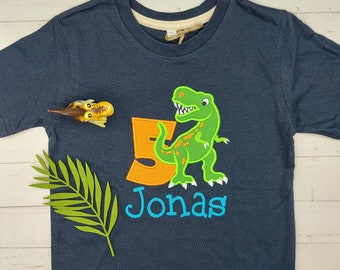 Dinosaur shirt embroidered - personalized with name and number - birthday shirt Dino T-Rex, birthday gift birthday boy colorful